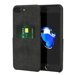 dodocool PU Leather Phone Wallet Case Protective Shell with Credit Card Holder Slot for 5.5-inch iPhone 7 Plus Black