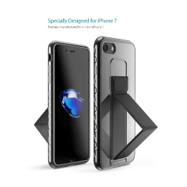 dodocool Ultra Slim Crystal Clear Protective Case with Foldable Kickstand Grip Holder Non-slip Shock Absorption Scratch Resistant Shell Cover for 4.7-inch iPhone 7 Gold