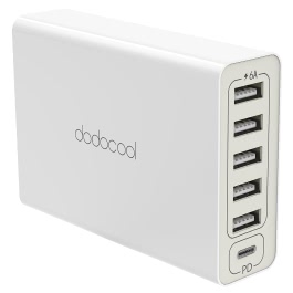 dodocool DA124 6-port 60W USB Power Adapter